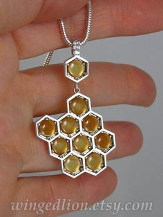HONEYCOMB silver pendant with Citrines and white by WingedLion