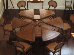 Expanding Dining Table. The Ingenious Robert Jupe Table Mechanism Enables A  Round Table To Grow In Diameter From 60 To 84 By The Insertion Of Eighu2026