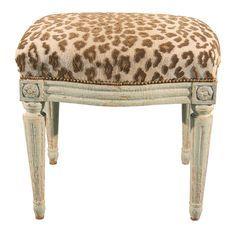 Leopard LouisXVI vanity stool