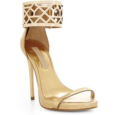 BCBGMAXAZRIA Estie High-Heel Sandal ($100) ❤ liked on Polyvore featuring shoes, sandals, heels, sapatos, scarpe, light gold, high heels sandals, open toe high heel sandals, open toe sandals and strappy heeled sandals
