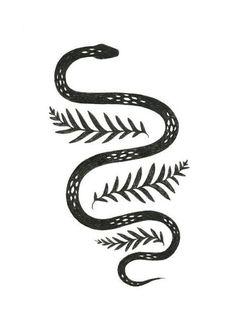 Snake & fern inkjet print of pen drawing Snake & Fern illustration by Lauren Blair Snake Drawing, Snake Art, Drawing Drawing, Potnia Theron, Bild Tattoos, Desenho Tattoo, Grafik Design, Skin Art, Beautiful Tattoos