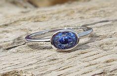 Unique Engagement Ring 1.20ct Natural Blue Sapphire Unheated 14k White Gold Bezel Set Modern Handmade OOAK by DiamondAddiction on Etsy
