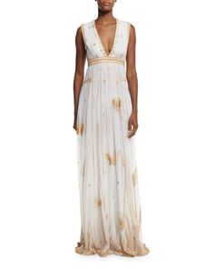 Vivanette Sleeveless Tulle Gown, Ivory/Gold by Diane von Furstenberg at Bergdorf Goodman.