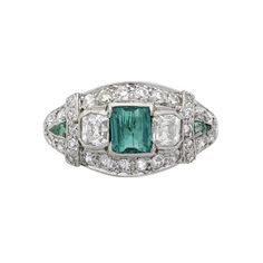 art deco tiffany & co emerald and diamond