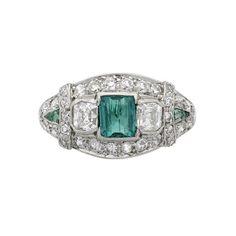 art deco tiffany & co emerald and diamond