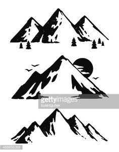 Three black and white mountain images