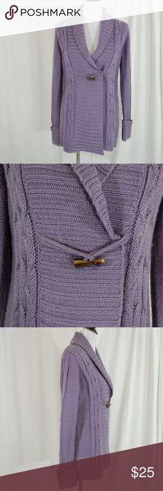 Purple Cable Knit Chunky Sweater This cable knit heavy sweater has cuffed full-length sleeves, a wide and cozy collar, and a single wood-like clasp under bust.   This is warm, super flattering, and very soft.   Worn a couple times and in good condition with minimal wear.  <PP2> Sonoma Sweaters