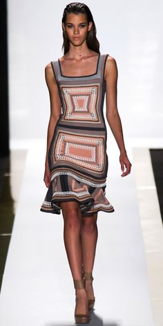 HERVE LEGER BY MAX AZRIA: Blush/gunmetal bandage crochet and beaded geometric flared dress and nude leather ankle-strap pump