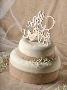 Rustic Cake Topper, Wood Cake Topper,  All you need is love Cake Topper, Engraved  Cake Topper, Wedding Cake Topper, by forlovepolkadots on Etsy https://www.etsy.com/transaction/1015226101