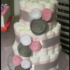pink & grey baby shower ideas | Baby shower ideas!! / baby shower #grey #white #pink diaper cake