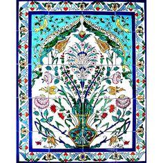 <li>Mosaic mural is handmade and hand-painted</li> <li>Tile wall art is from exotic Tunisia</li> <li>Ceramic mural features a floral theme </li>