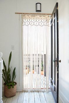 How to Display Macrame Decor in Your Home - Balcony Curtains , How to Display Macrame Decor in Your Home door curtains Haus. Ikea Curtains, Door Panel Curtains, Balcony Curtains, Doorway Curtain, Curtains Living, Roman Curtains, Purple Curtains, Short Curtains, Nursery Curtains