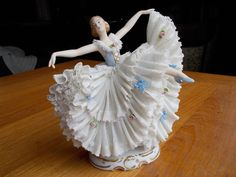"Antique Dresden 7"" Porcelain Lace Figurine Lady Dancing Germany"