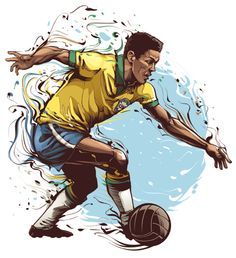 Brazilian Sports Legends: Garrincha - Football player, world champion in 58 and 62 by Cristiano Siqueira Soccer Art, Football Art, Sport Football, Soccer Logo, Fifa, Netball, Portrait Illustration, Sports Art, Soccer Players