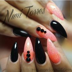 The peach colored nails at GEL The black nails are ACRYLIC I like playing with both