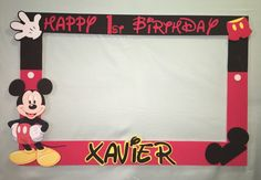 Photo Booth Frame to Take Pictures Mickey Mouse Birthday   eBay
