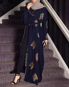 Aaliya Collections Yadira Abaya of gold emboidery on contrasting rich navy fabric Arab Fashion, Islamic Fashion, Muslim Fashion, Modest Fashion, Fashion Outfits, Classy Fashion, Style Fashion, Fashion Shoes, Kids Fashion
