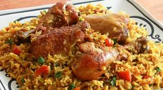 """Chicken Machboos, or Machboos ala Dajaj (""""spiced chicken and rice""""), is the national dish of Bahrain, a small island country in the Persian Gulf neighbored by Saudi Arabia and Iran. Machboos is similar to Biryani (from Rice Recipes, Indian Food Recipes, Chicken Recipes, Cooking Recipes, Ethnic Recipes, Halal Recipes, Lebanese Recipes, Recipe Chicken, Filipino Recipes"""