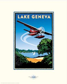 Lake Geneva - Sun Country Minnesota Lakes Project - art by Mark Herman Mn Artists, Lake Geneva, Saturated Color, Vintage Travel Posters, Pigment Ink, Note Cards, Vintage Art, Framed Art, Giclee Print