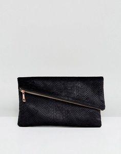 ASOS Velvet Snake Square Clutch Bag With Slanted Zip Top