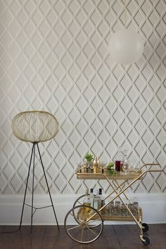 Buy Linen/Gold, Cole & Son Pompeian Wallpaper from our Wallpaper range at John Lewis & Partners. Geometric Trellis Wallpaper, Cole Son, Lucienne Day, Cole And Son Wallpaper, Trellis Design, Shed Design, Fabric Houses, Original Wallpaper, Decoration