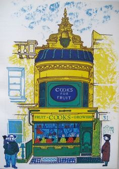 "John Griffiths' shopfront pictures for Motif, a series of journals published and printed by James Shand for Shenval Press: ""Shops for Fruit"" (1959)"
