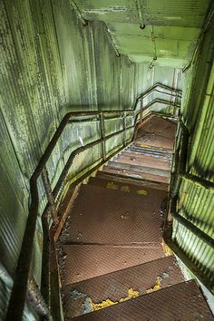 ~ This reminds me of an old Fire Escape at an abandoned Poor House in Indiana. (I should put my pictures of the place on my board! Abandoned Buildings, Abandoned Property, Abandoned Mansions, Old Buildings, Abandoned Places, Spooky Places, Haunted Places, Bg Design, Fire Escape