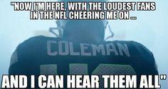 Seattle Seahawks Derrick Coleman first deaf offensive NFL player. Seahawks Football, Best Football Team, Football Season, Seattle Sounders, Seattle Seahawks, Derrick Coleman, 12th Man, Home Team