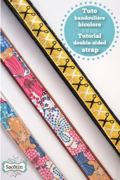 Two-tone or double-sided strap Tutorial Easy to sew, a double-sided strap is also a pretty way to reduce the thickness of a vinyl shoulder strap by pairing it with cotton. Sewing Lessons, Sewing Hacks, Sewing Tutorials, Tutorial Sewing, Diy Sac Bandoulière, Diy Vinyl Bags, Sewing Online, Side Purses, Sewing Courses