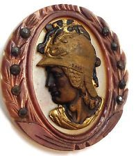 Antique two tone handcarved mother of pearl large button with soldier profile