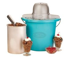 Nostalgia ICMP400BLUE 4Quart Electric Ice Cream Maker * You can find more details by visiting the image link-affiliate link. #GourmetStainless Steel