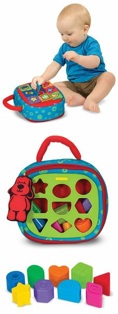 {Take-Along Shape Sorter Baby and Toddler Toy} Using nine plastic shapes and the padded carrying case, children can lift crinkly flaps, identify the pictures, match the shapes, and drop the textured blocks through the sorter . . . then pull the plush dog around the edge to unzip the case and start it all again! Find this great toy at your local toy shop!