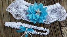 Beach wedding garter belt set / Wedding garters / beach garter set / Lace wedding garter / Starfish garter / Starfish wedding garter / white garter / Traditional garter / Traditional weddings / Aqua garter