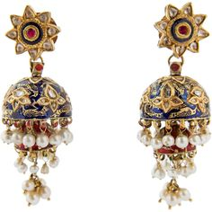 Preowned Indian Karn Phul Jumkha Enamel Pearl Diamond Gold Earpendants... (78.662.260 COP) ❤ liked on Polyvore featuring jewelry, earrings, multiple, gold pearl jewelry, yellow gold jewelry, red diamond jewelry, indian diamond jewellery and enamel jewelry