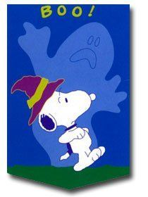 """SNOOPY HALLOWEEN FLAG~LARGE 28"""" X 40""""~NEW IN PACKAGE by NCE. $21.99"""