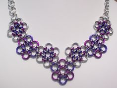 Japanese Flowers Chain Mail Necklace Purple and Fuchsia Pink Chainmaille Jewelry. $69.00, via Etsy.