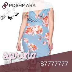 🌸🌺🌼COMING SOON🌼🌺🌸 Sexy and sweet baby blue floral bodycon. Will be available in sizes 1X, 2X, and 3X. Coming soon! Like this listing for pricing and measurement updates! Dresses