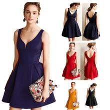 women rockabilly vintage Sleeveless backless elegant knee length Ball Gown dresses vestidos retro slim Brief party dress elbise(China (Mainland))
