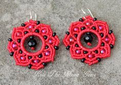 Red Boho Macrame Flower Earrings