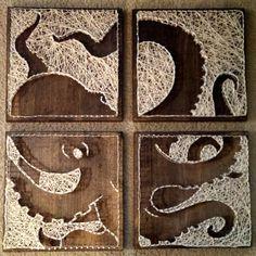 4 panel Octopus Nail and String Art Original von brokenwingArts