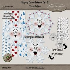 Happy Snowflakes Set 2 Templates