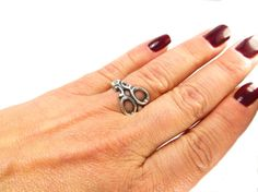 Scissor Ring Adjustable Small Scissor Ring Sterling by BellaMantra