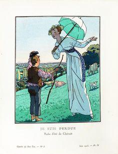 Fashion by Madeleine Chéruit - summer dress, illustration by Pierre Brissaud, published in La Gazette du Bon-Ton, June 1913.