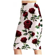 Women's Fashion Floral Print High Rise Pencil Midi Skirt (520 MXN) ❤ liked on Polyvore featuring skirts, high waisted midi skirt, pencil skirt, floral pencil skirts, mid calf pencil skirt and high-waist skirt