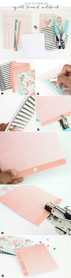 How to make Eyelet Bound Notebooks Handmade Notebook, Diy Notebook, Handmade Books, Mini Albums, Diy Francais, Diy Paper, Paper Crafts, Cool School Supplies, New Pen
