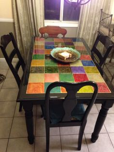 Refurbished white tile farm table from the thrift store