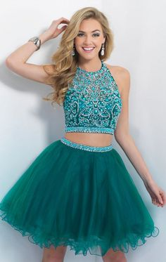 Turquoise Homecoming Dress,Tulle Homecoming Dresses,2 Piece Homecoming Dress,,2 Pieces Party Dress,Short Prom Gown