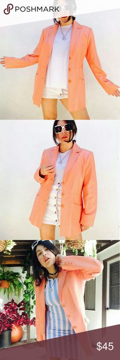 Vtg Sunset orange leather retro 'miami vice'jacket Retro sunset orange leather jacket. Size Medium. This is a male jacket that girls can totally slay too with oversized fit  <3  Miami Vice retro vibes, feautures button front close, tailored fit and always handy pockets at sides.  No trades  Cool discounts on bundles   Vintage retro leather blazer coat jacket sunset soft pastel orange 80's 90's raver clubbing kawaii unif nastygal killstar dollskill Jackets & Coats