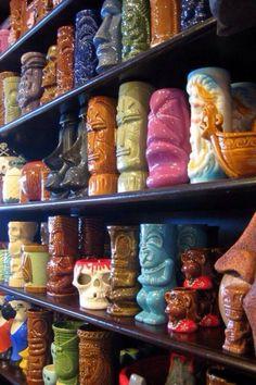 Mugs for sale at Freaky Boutiki in San Diego. Anything tiki is just plain cool. Tiki Art, Tiki Tiki, Hawaiian Tiki, Hawaiian Parties, Tiki Lounge, Lounge Decor, Tiki Bar Decor, Vintage Tiki, Tiki Torches