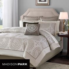 creams to go with grey walls?  @Overstock - Update your bedroom with this classic bed in a bag set featuring an elegant medallion print in shades of ivory and taupe. This chic bed in a bag arrives with a coordinating solid sheet set trimmed with flat piping.http://www.overstock.com/Bedding-Bath/Madison-Park-Sausalito-12-piece-Bed-in-a-Bag-with-Sheet-Set/5955695/product.html?CID=214117 $134.99